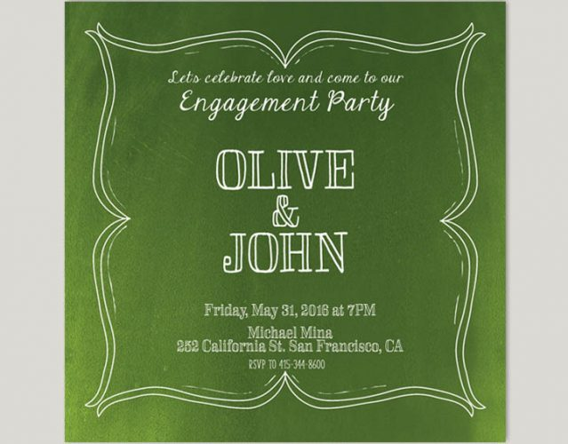 Wine Country Inspired Olive Green Engagement Party Invitations