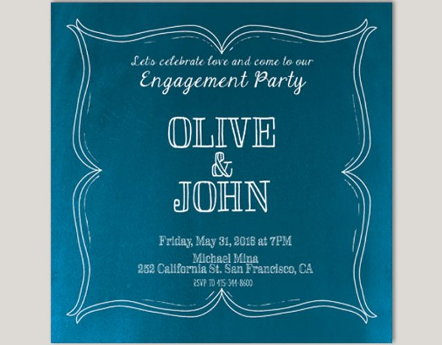 Square Peacock Blue Engagement Party Invitations