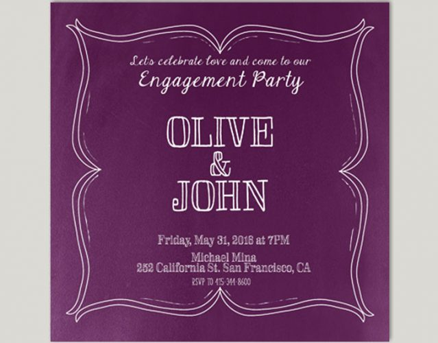 Wine Country Inspired Purple Engagement Party Invitations
