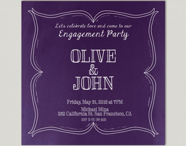 Wine Country Inspired Violet Engagement Party Invitations