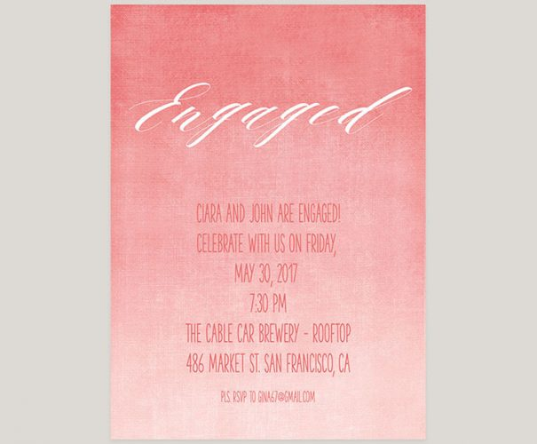 Coral Pink Watercolor Ombre Engagement Party Invitations