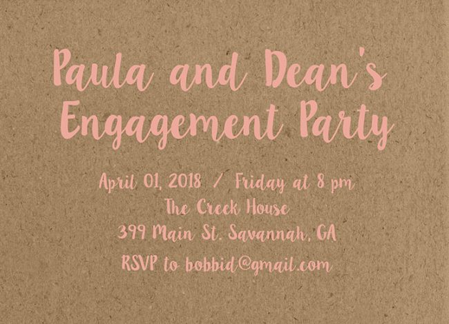The Paula - Watercolor Flowers Kraft Engagement Party Invitations
