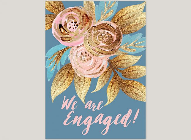 Gold & blush watercolor flowers engagement party invitations
