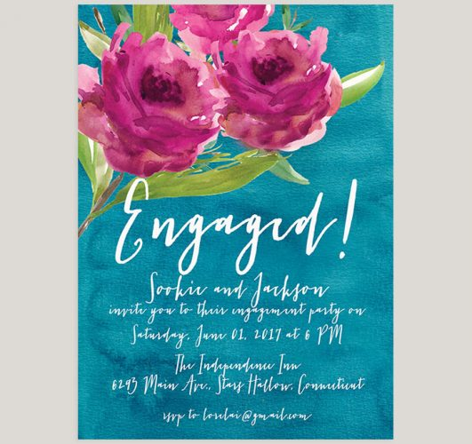 Fuchsia Flowers & Teal Green Watercolor Engagement Party Invitations