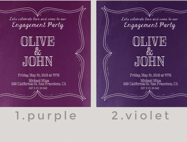 Purple or Violet Engagement Party Invitations