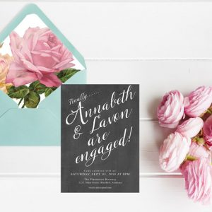 Southern Charm Chalkboard Engagement Party Invitations