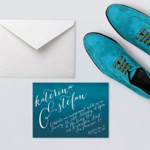 Peacock Blue Watercolor Calligraphy Engagement Party Invitations