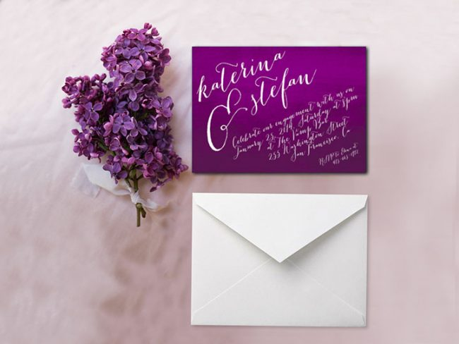 Purple Watercolor Calligraphy Engagement Party Invitations