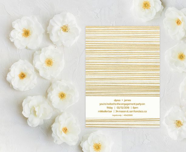 Modern gold stripes engagement party invitations