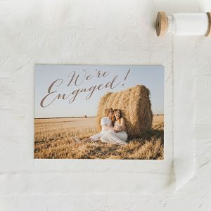 Rustic chic calligraphy engagement announcement cards