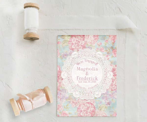 shabby chic doily engagement announcement cards