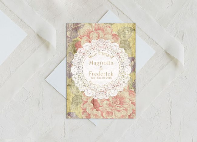cottage chic doily engagement announcement cards