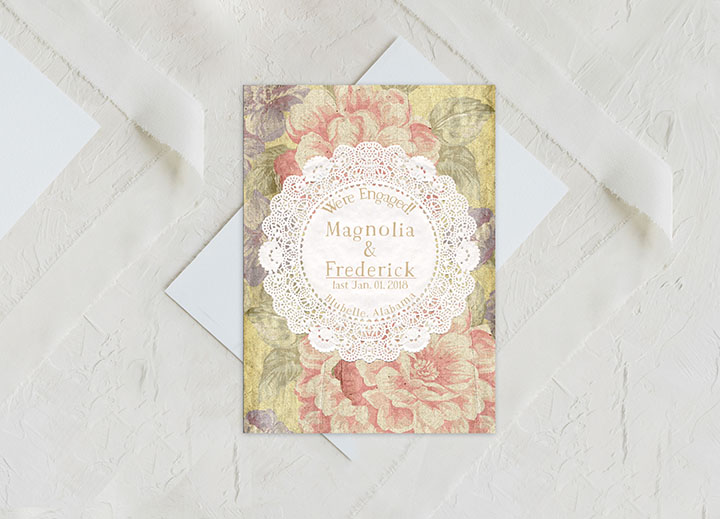 Shabby Chic Doily Engagement Announcement Cards The Magnolia The
