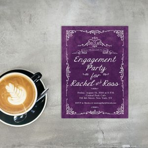 Vintage-Style Distressed Purple Passion Engagement Party Invitations