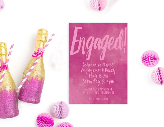 Fuchsia watercolor engagement party invitations