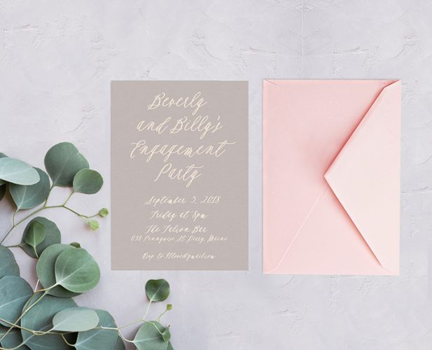 Dove Grey Calligraphy Engagement Party Invitations