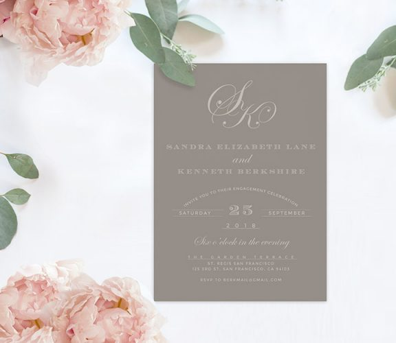 Grey monogram engagement party invitations