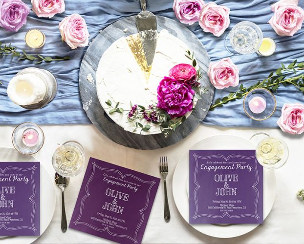 Wine Country Inspired Purple or Violet Engagement Party Invitations