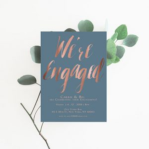 Smoky blue & rose gold calligraphy engagement party invitations