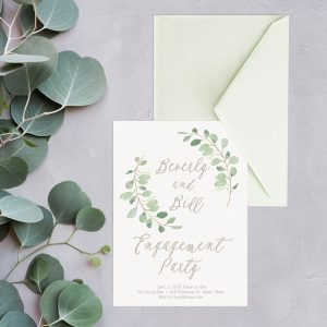 Eucalyptus Wreath Calligraphy Engagement Party Invitations