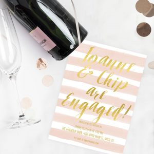 Gold & Blush Stripes Engagement Party Invitations