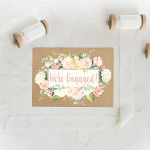 Watercolor Flowers Kraft Engagement Party Invitations