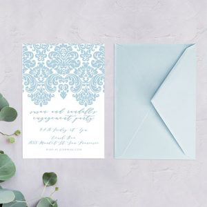 pastel Damask engagement party invitations