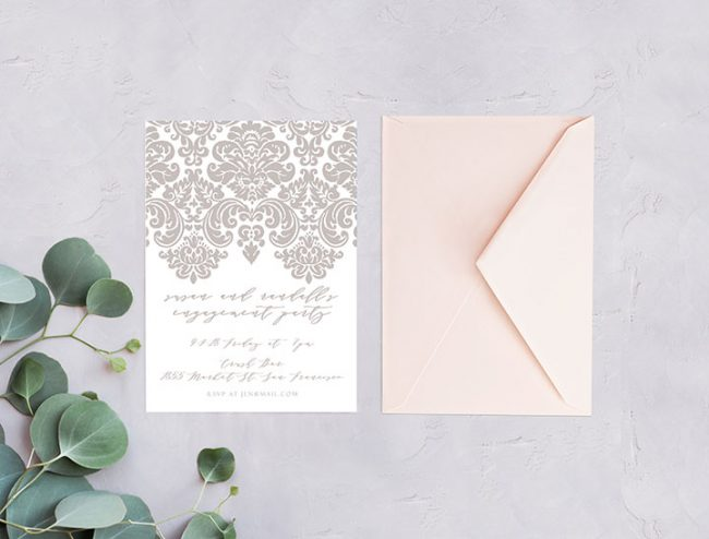 Grey / Gray Damask engagement party invitations