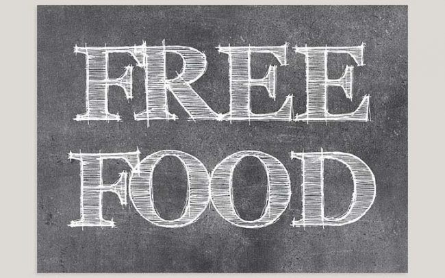 Free food chalkboard save the date cards