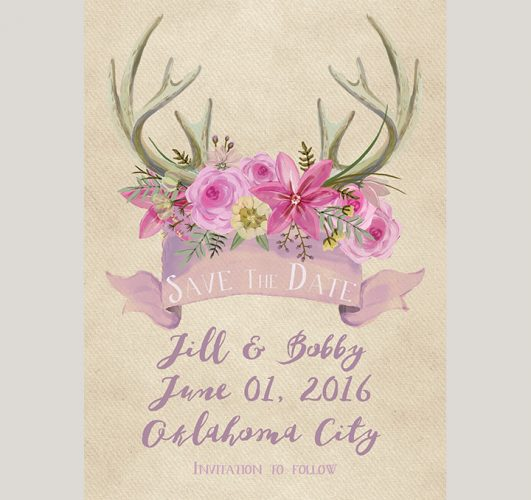 The Jill - Rustic chic lilac floral antler save the date cards