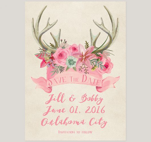 Rustic chic pink floral antler save the date cardsRustic chic pink floral antler save the date cards