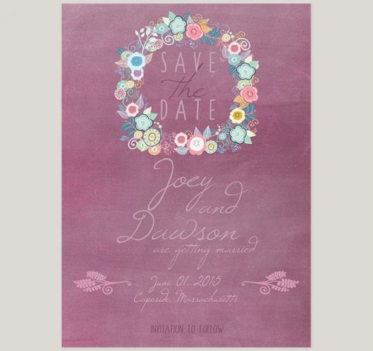 Shabby chic plum save the date cards
