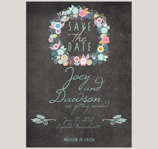 Whimsical chalkboard save the date cards