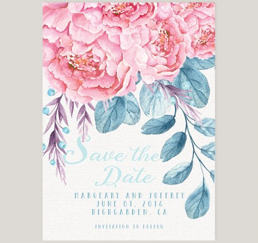 Cottage chic watercolor blush peonies save the date cards