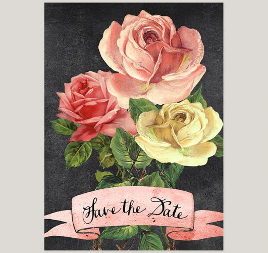 Vintage pink & yellow roses save the date cards