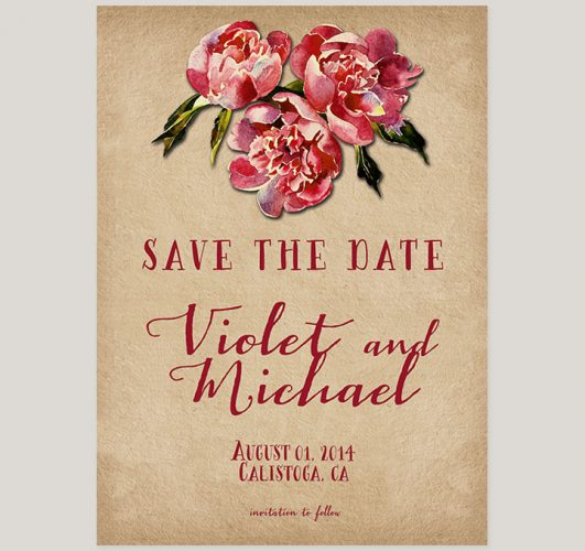 Rustic farmhouse chic barn red save the date cards