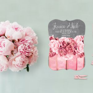 Coral pink peonies on mason jars save the date cards