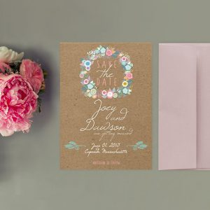 Rustic chic wreath on kraft save the date cards