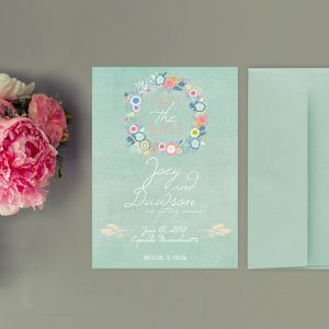 Shabby chic mint green floral wreath save the date cards
