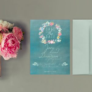 THE JOEY - Teal green floral wreath save the date cards