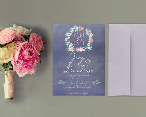 Cottage chic blue violet save the date cards