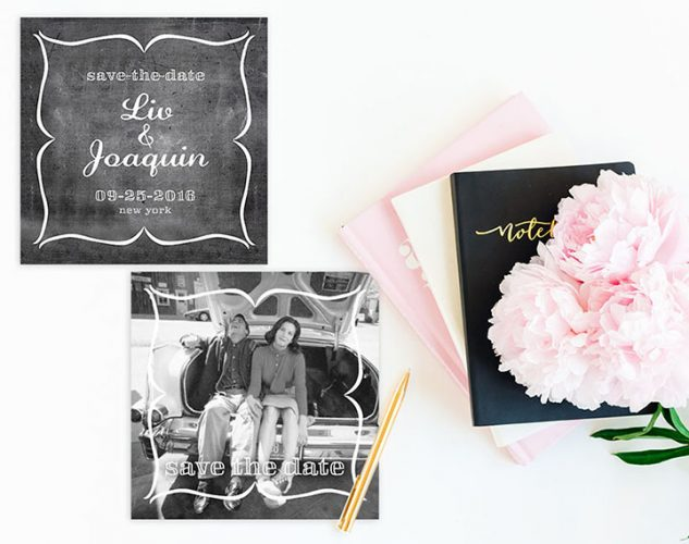 square casual chic chalkboard save the date cards