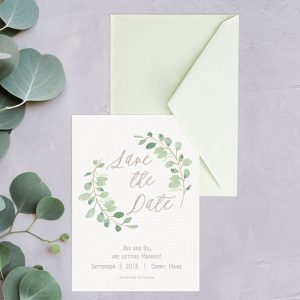 eucalyptus wreath calligraphy save the date cards