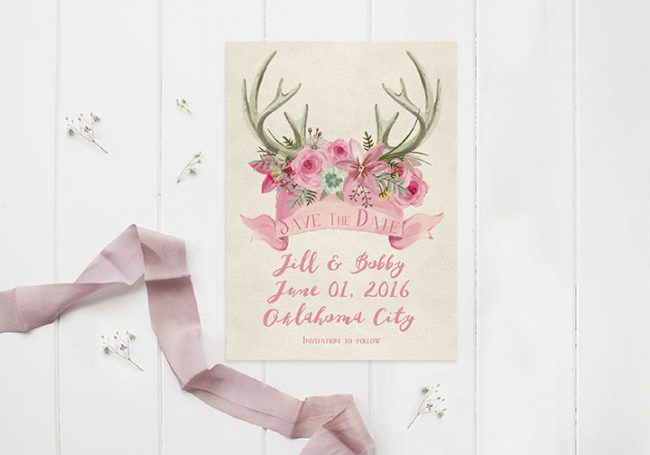 Rustic chic pink floral antler save the date cards