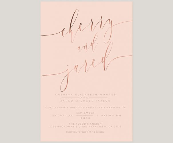 Blush & rose gold calligraphy wedding invitations