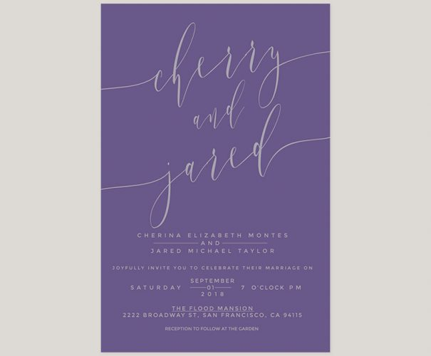 Violet & grey calligraphy wedding invitations