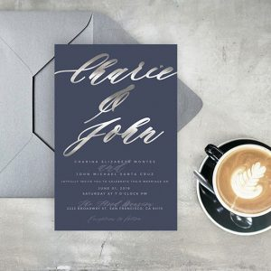 Navy blue & silver calligraphy wedding invitations