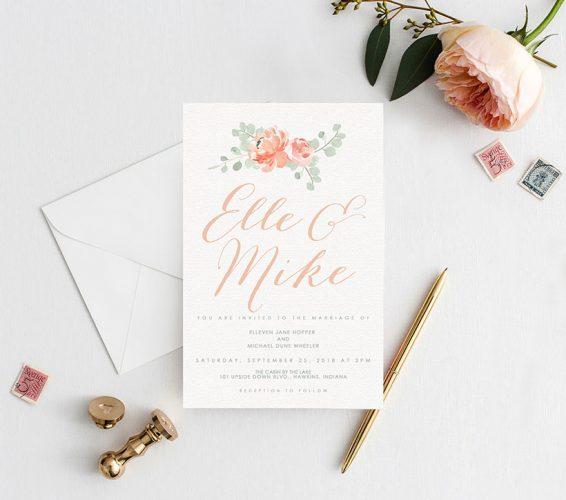 Peaches & cream peony watercolor wedding invitations