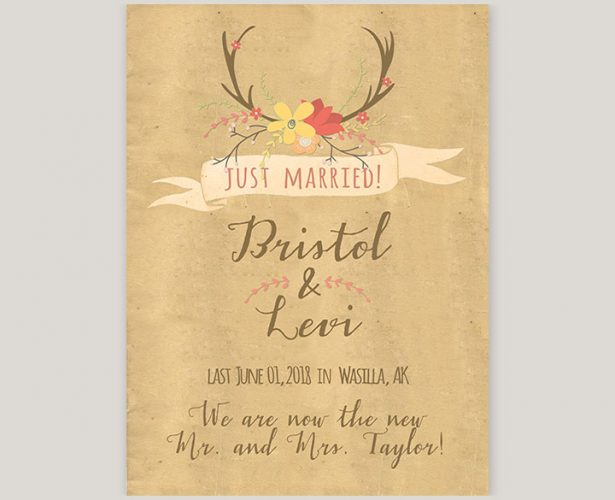 rustic chic antler wedding announcement or elopement cards