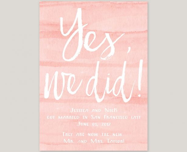 Watercolor blush wedding announcements or elopement cards